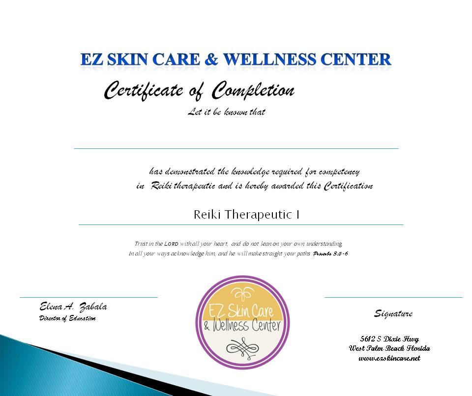 Reiki Certification - EZ Skin Care & Wellness Center
